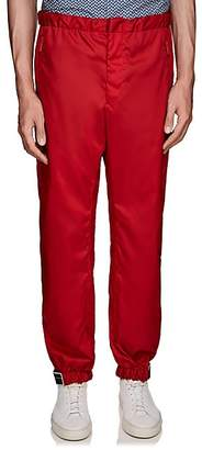 Prada Men's Rubber-Tab Tech-Gabardine Joggers - Red