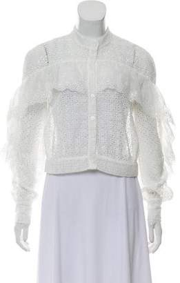 Self-Portrait Cropped Eyelet Lace Blouse