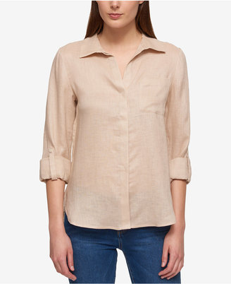 Tommy Hilfiger Linen Roll-Tab Shirt, Created for Macy's