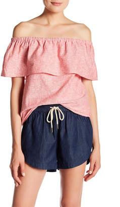Kensie Off-the-Shoulder Linen-Blend Blouse $59 thestylecure.com