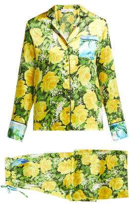 Richard Quinn - Rose Print Silk Pyjamas - Womens - Yellow Print