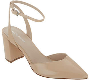 Marc Fisher Pointed Toe Pumps with Ankle Straps- Cedrina