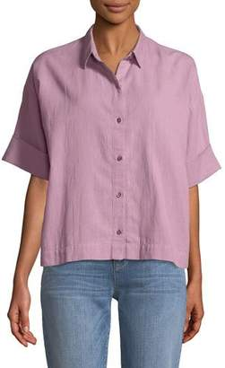 Eileen Fisher Boxy Cotton Crepe Shirt, Plus Size