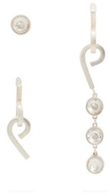 Jil Sander Set Of Three Mismatched Crystal Earrings - Womens - Silver