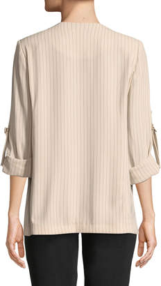 Iconic American Designer Soft Striped Suiting Roll-Tab Jacket