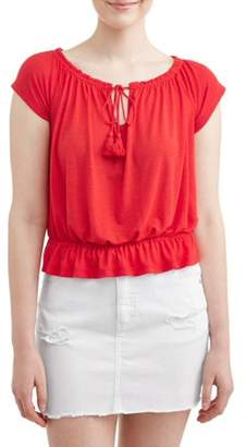 5f369f24f0e Almost Famous Juniors  Flutter Sleeve Keyhole Peasant Blouse