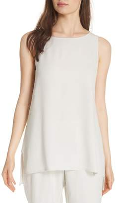 Eileen Fisher Silk Crepe Bateau Neck Shell