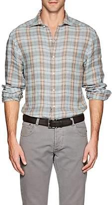 Barneys New York Men's Checked Linen Shirt