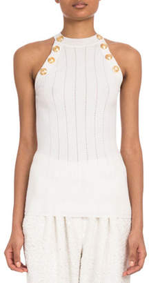Balmain Sleeveless Button-Shoulder Wide-Rib Wool Top