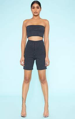 5bce50005969 PrettyLittleThing RECYCLED Black Pinstripe Cycle Shorts