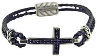David Yurman 925 Sterling Silver & Leather with Black Diamonds Cross Bracelet