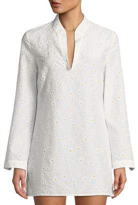 Tory Burch Stephanie Daisy Embroidered Coverup Tunic