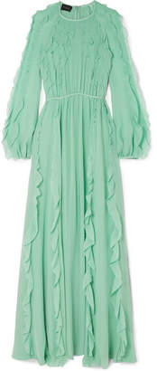 Giambattista Valli Ruffled Silk-georgette Maxi Dress - Teal