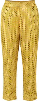 ASCENO - Printed Silk-satin Pajama Pants - Yellow