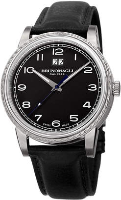 Bruno Magli Men's 43mm Leather Watch w/ Black Dial