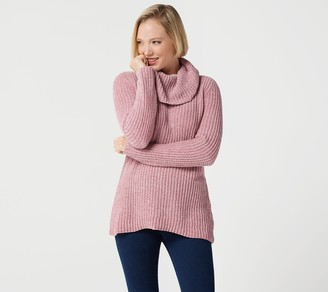 Denim & Co. Chenille Cowl-Neck Long-Sleeve Sweater