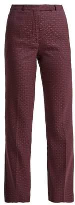 Etro Violante Straight Leg Jacquard Trousers - Womens - Black Pink