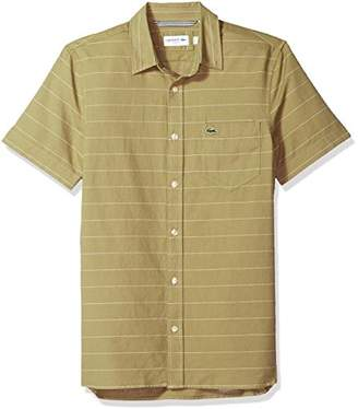 Lacoste Men's Short Sleeve Striped Button Down Collar Slim Woven Shirt