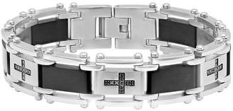 Black Diamond FINE JEWELRY Mens 1/4 CT. T.W. Black IP Stainless Steel Cross Link Bracelet