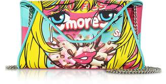 Moschino Smores Comic Girl Turquoise Eco Leather Envelope Clutch w/Chain Strap