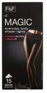 F&F 2 Pack Of Magic Shapewear 15 Denier Shaper Tights With Lycra