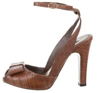 Ralph Lauren Purple Label Alligator Ankle Strap Sandals