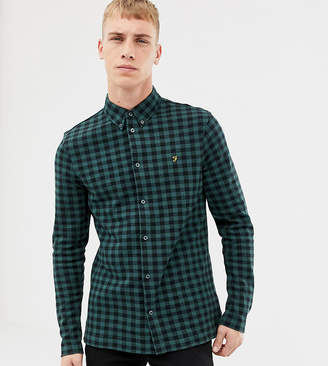 Farah Bobby slim fit checked jersey shirt in green