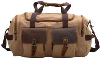 EAZO - Canvas And Leather Military Style Holdall Bag In Tan