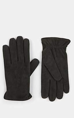 Barneys New York Men's Cashmere-Lined Suede Gloves - Gray