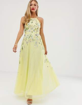 Asos Design DESIGN maxi dress with pinny bodice in embroidered dobby