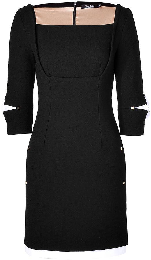 Marios Schwab Wool Crepe Short Dress with Straight Neckline in Black