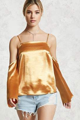 Forever 21 Open-Shoulder Satin Top