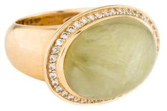 Ring 18K Prehnite & Diamond Cocktail