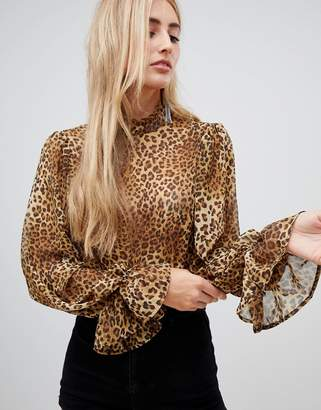 Missguided high neck chiffon blouse with flare cuffs in leopard
