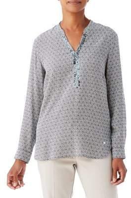 Olsen Beaded Print Tunic Blouse