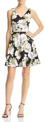 Aqua Double V-Neck Floral Fit-and-Flare Dress - 100% Exclusive