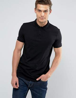 Asos Design Polo Shirt In Jersey In Black