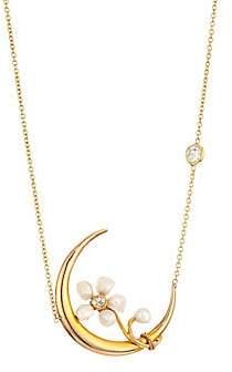 Renee Lewis Women's 18K Gold Diamond & Pearl Crescent Moon Necklace