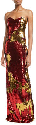 Naeem Khan Nk32 Strapless Sequin Flocked Gown