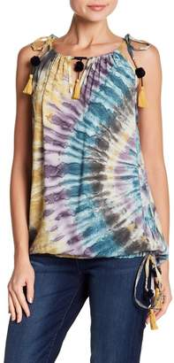 Love Stitch Pompom Trim Tie-Dye Tank Top