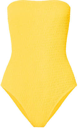 Diane von Furstenberg Shirred Bandeau Swimsuit - Yellow