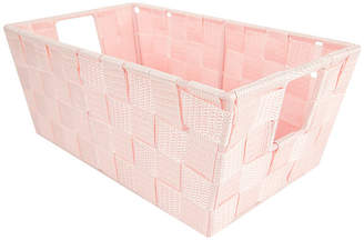 HOME BASICS Home Basics Small Polyester Woven Strap Open Bin