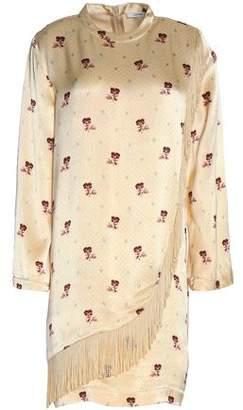 Ganni Donnelly Fringe-Trimmed Floral-Print Satin Mini Dress