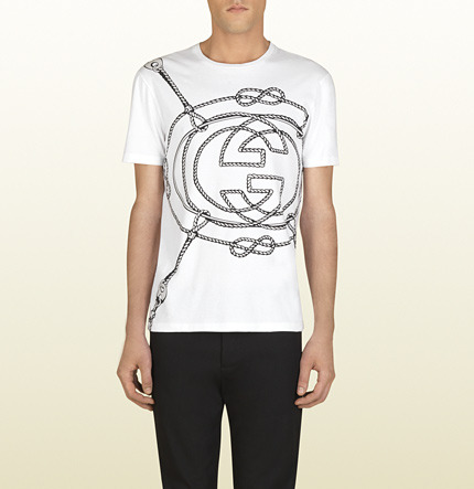 Gucci White Cotton T-Shirt With Ropes Print