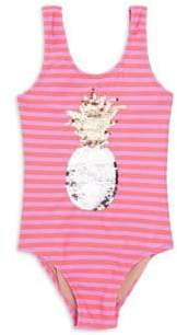 Shade Critters Little Girl's& Girl's Striped Sequin Pineapple One-Piece Swimsuit