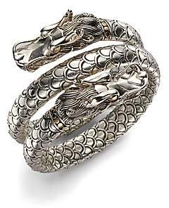 John Hardy Women's Naga 18K Yellow Gold & Sterling Silver Dragon Head Double Coil Bracelet