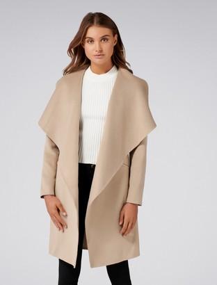 Forever New Megan Petite Felled Seam Wrap Coat - Camel - 4
