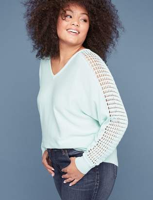 Lane Bryant Laced Sleeve Sweater