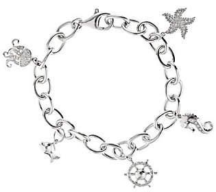 Abercrombie & Fitch QVC Diamond Charm Bracelet, Sterling, 1/5cttw