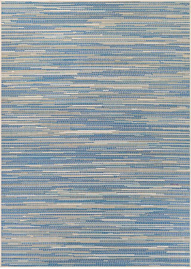 """CouristanCouristan Monaco Indoor/Outdoor Alassio Sand-Azure-Turquoise 2'3"""" x 7'10"""" Runner Area Rug"""